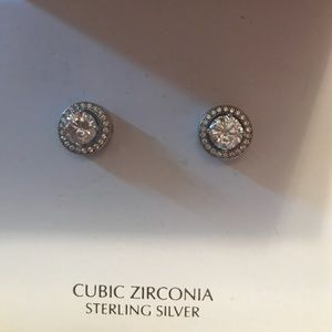 Cubic zirconia sterling silver posts
